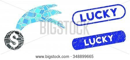 Mosaic Lucky Money And Rubber Stamp Seals With Lucky Caption. Mosaic Vector Lucky Money Is Designed