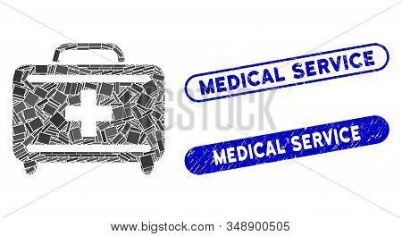 Mosaic Medical Briefcase And Rubber Stamp Seals With Medical Service Caption. Mosaic Vector Medical