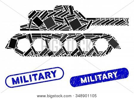 Mosaic Military Tank And Rubber Stamp Seals With Military Phrase. Mosaic Vector Military Tank Is Com