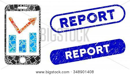 Mosaic Mobile Report And Corroded Stamp Seals With Report Caption. Mosaic Vector Mobile Report Is De
