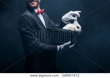 Cropped View Of Smiling Magician Showing Trick With White Rabbit In Hat, In Dark Room With Smoke