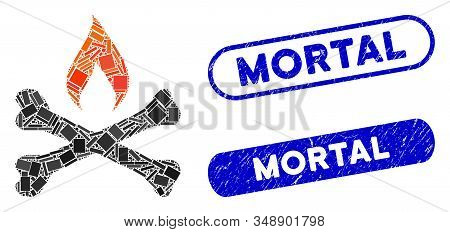 Mosaic Mortal Ignition And Rubber Stamp Watermarks With Mortal Phrase. Mosaic Vector Mortal Ignition