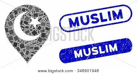 Mosaic Muslim Symbol Marker And Rubber Stamp Watermarks With Muslim Text. Mosaic Vector Muslim Symbo