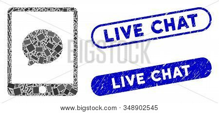 Mosaic Pad Chat Message And Distressed Stamp Watermarks With Live Chat Phrase. Mosaic Vector Pad Cha
