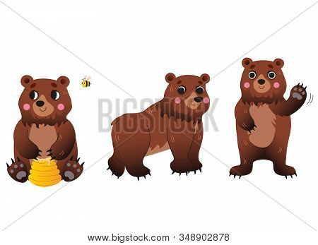 Cute Cartoon Bear Vector Set. Bear In Different Postures. Bear With Honey, Greeting Bear, Walking Be