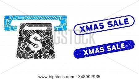 Mosaic Payment Slot And Rubber Stamp Watermarks With Xmas Sale Text. Mosaic Vector Payment Slot Is C
