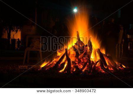 Giant Bon Fire Lit For The Festival Of Lohri