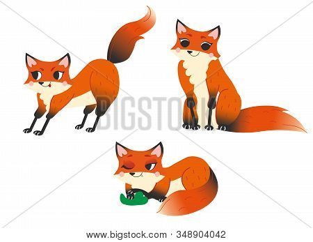 Cute Cartoon Wild Fox Vector Set. Fox In Different Postures. Sitting, Lying And Hunting Fox. Forest