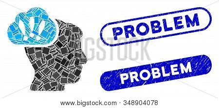 Mosaic Problem Brainstorm And Corroded Stamp Watermarks With Problem Text. Mosaic Vector Problem Bra
