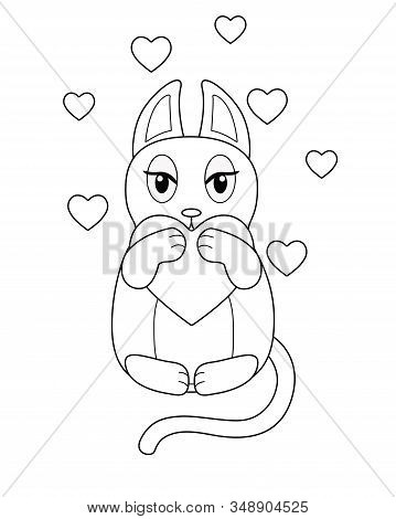 Loving Cat - Vector Linear Image To The Day Of Lovers. Cute Dreamy Kitty Surrounded By Hearts. Kawai
