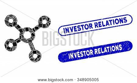 Mosaic Relations And Rubber Stamp Seals With Investor Relations Caption. Mosaic Vector Relations Is