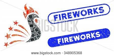 Collage Rooster Fireworks And Distressed Stamp Seals With Fireworks Phrase. Mosaic Vector Rooster Fi