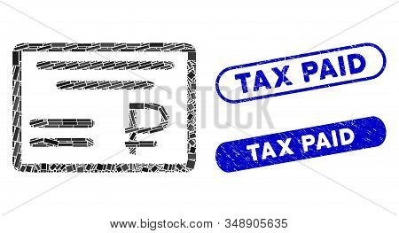 Collage Rouble Cheque And Distressed Stamp Seals With Tax Paid Phrase. Mosaic Vector Rouble Cheque I