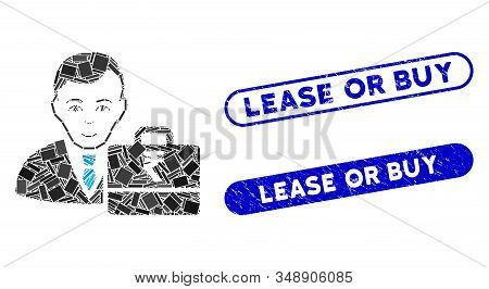 Mosaic Rupee Accounter And Grunge Stamp Seals With Lease Or Buy Text. Mosaic Vector Rupee Accounter