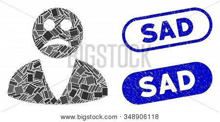 Mosaic Sad User And Corroded Stamp Seals With Sad Phrase. Mosaic Vector Sad User Is Composed With Ra