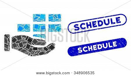 Mosaic Schedule Service Hand And Grunge Stamp Watermarks With Schedule Text. Mosaic Vector Schedule