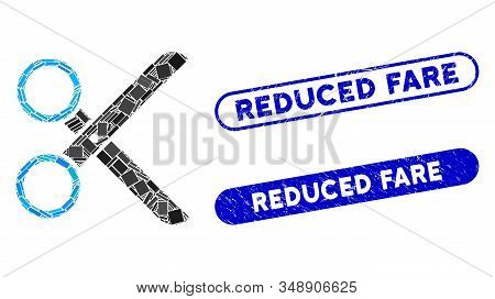 Mosaic Scissors And Distressed Stamp Seals With Reduced Fare Caption. Mosaic Vector Scissors Is Crea