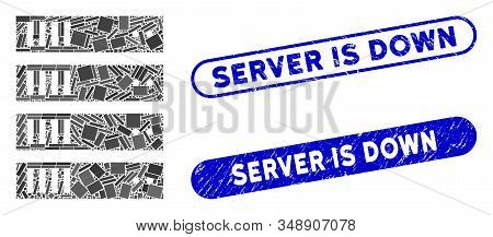 Mosaic Server And Corroded Stamp Seals With Server Is Down Text. Mosaic Vector Server Is Designed Wi