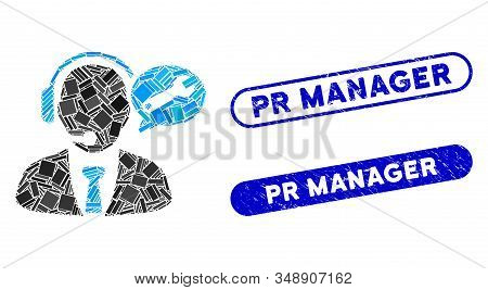 Mosaic Service Manager Message And Distressed Stamp Watermarks With Pr Manager Text. Mosaic Vector S