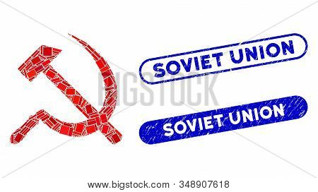 Mosaic Sickle And Hammer And Corroded Stamp Seals With Soviet Union Text. Mosaic Vector Sickle And H
