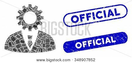 Mosaic Soulless Official Bureaucrat And Grunge Stamp Watermarks With Official Text. Mosaic Vector So