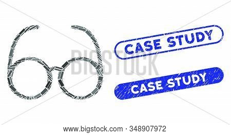 Mosaic Spectacles And Corroded Stamp Seals With Case Study Caption. Mosaic Vector Spectacles Is Crea