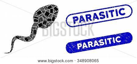 Mosaic Sperm And Distressed Stamp Seals With Parasitic Caption. Mosaic Vector Sperm Is Designed With
