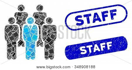 Mosaic Staff And Rubber Stamp Watermarks With Staff Text. Mosaic Vector Staff Is Designed With Rando