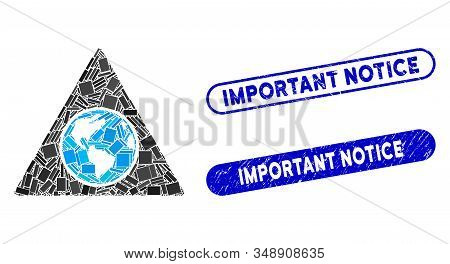 Mosaic Terra Triangle And Rubber Stamp Seals With Important Notice Phrase. Mosaic Vector Terra Trian