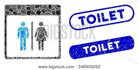 Mosaic Toilet Persons Calendar Page And Grunge Stamp Seals With Toilet Text. Mosaic Vector Toilet Pe