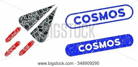 Mosaic Ton Currency Flight And Distressed Stamp Seals With Cosmos Text. Mosaic Vector Ton Currency F