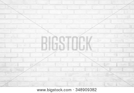 White Brick Wall Texture Background In Room At Subway. Brickwork Stonework Interior, Rock Old Clean