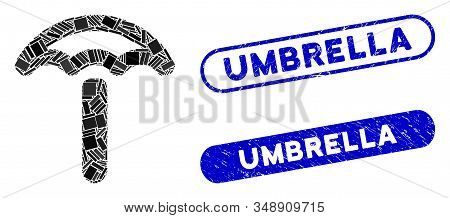 Collage Umbrella And Grunge Stamp Seals With Umbrella Text. Mosaic Vector Umbrella Is Composed With