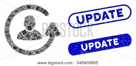 Collage Update User And Distressed Stamp Seals With Update Text. Mosaic Vector Update User Is Compos