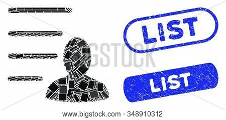 Mosaic User List And Rubber Stamp Seals With List Caption. Mosaic Vector User List Is Created With S