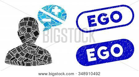 Collage User Opinion And Distressed Stamp Seals With Ego Phrase. Mosaic Vector User Opinion Is Creat