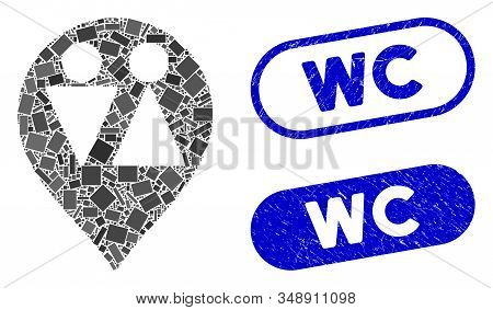 Mosaic Wc Map Marker And Corroded Stamp Seals With Wc Caption. Mosaic Vector Wc Map Marker Is Formed