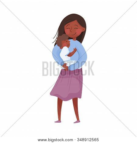 Mom And Her Kid Vector Illustration. Young Mother Holding Her Baby In Arms And Embracing