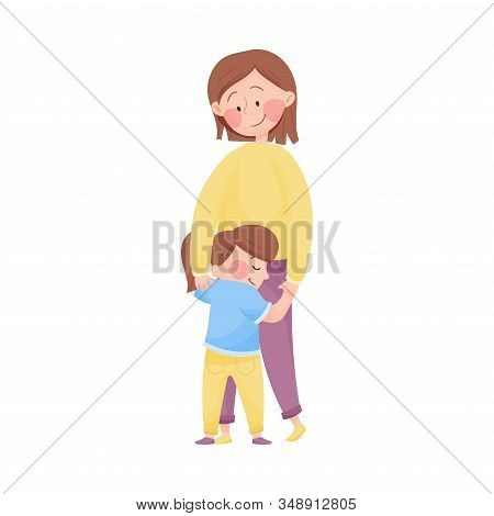 Mom Standing And Embracing Her Little Daughter Vector Illustration. Young Mother And Her Kid Loving
