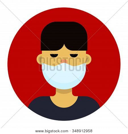 An Asian Man In A Medical Mask Is Protected From The Virus. Vector Flat Illustration