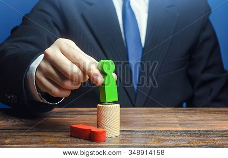 Businessman Replaces A Leader Employee On Position. Change Of Power, Capture Control Business. Impro