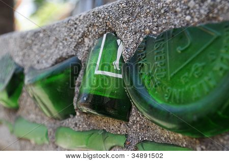 Broken bottles decorate Watts Towers, Los Angeles