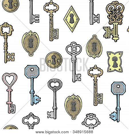 Vintage Keys Golden And Silver And Keyholes Isolated On White Vector Seamless Pattern. Illustration