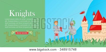 Cartoon Multiracial Knights In Full Body Armor Suits And Castle For Game Web Banner Vector Illustrat