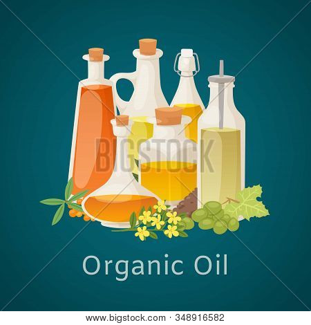 Organic Oil From Vegetables, Berries And Fruits Glass Pitchers, Bottles And Flowers Poster Vector Il