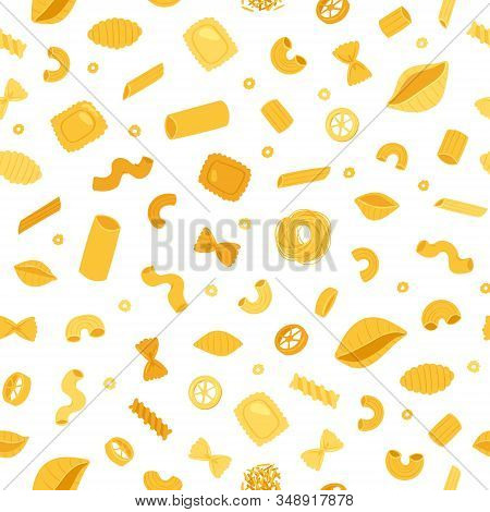 Italian Pastaand Macaroni Seamless Pattern Of Spaghetti And Rigatoni, Ravioli Isolated On White Back