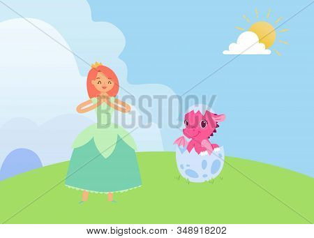 Magical Fairytale With Princess And Baby Dragon Vector Illustration. Pink Cartoon Newborn In Egg She