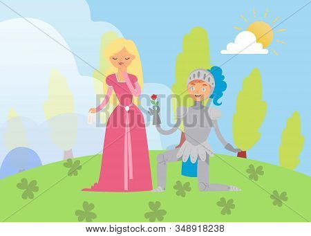 Medieval Fairy Love Tale Knight And Princess Vector Cartoon Characters Illustration. Fantasy Knight