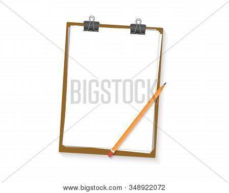 Clipboard With Blank White Sheet And Pencil. Paper Clipboard Border. Blank Empty Clipboard Mockup. F