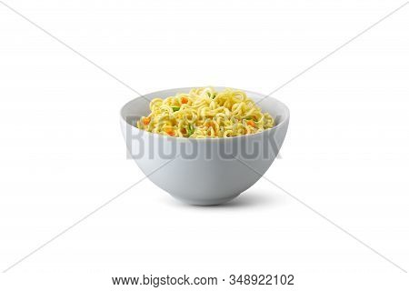 Isolated Instant Noodles In White Bowl. Cooked Instant Noodles With Vegetables In Bowl Isolated On W